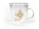 75th Anniversary Double Wall Glass Cup with Lid